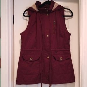 Burgundy/Wine colored sherpa lined Vest w/Hood